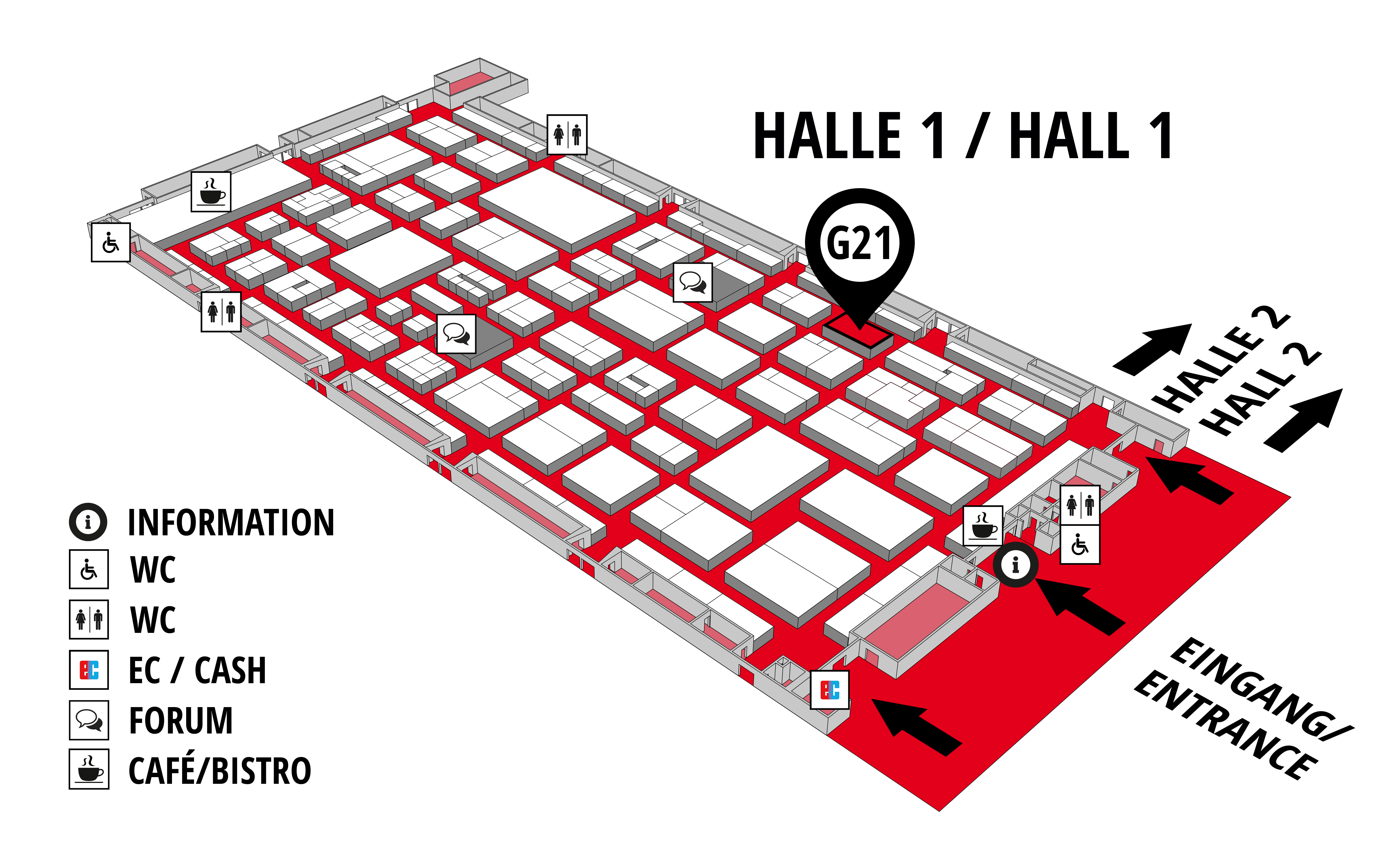 REHAB - Rehabilitation | Therapy | Care | Inclusion hall map (Hall 1): stand G21