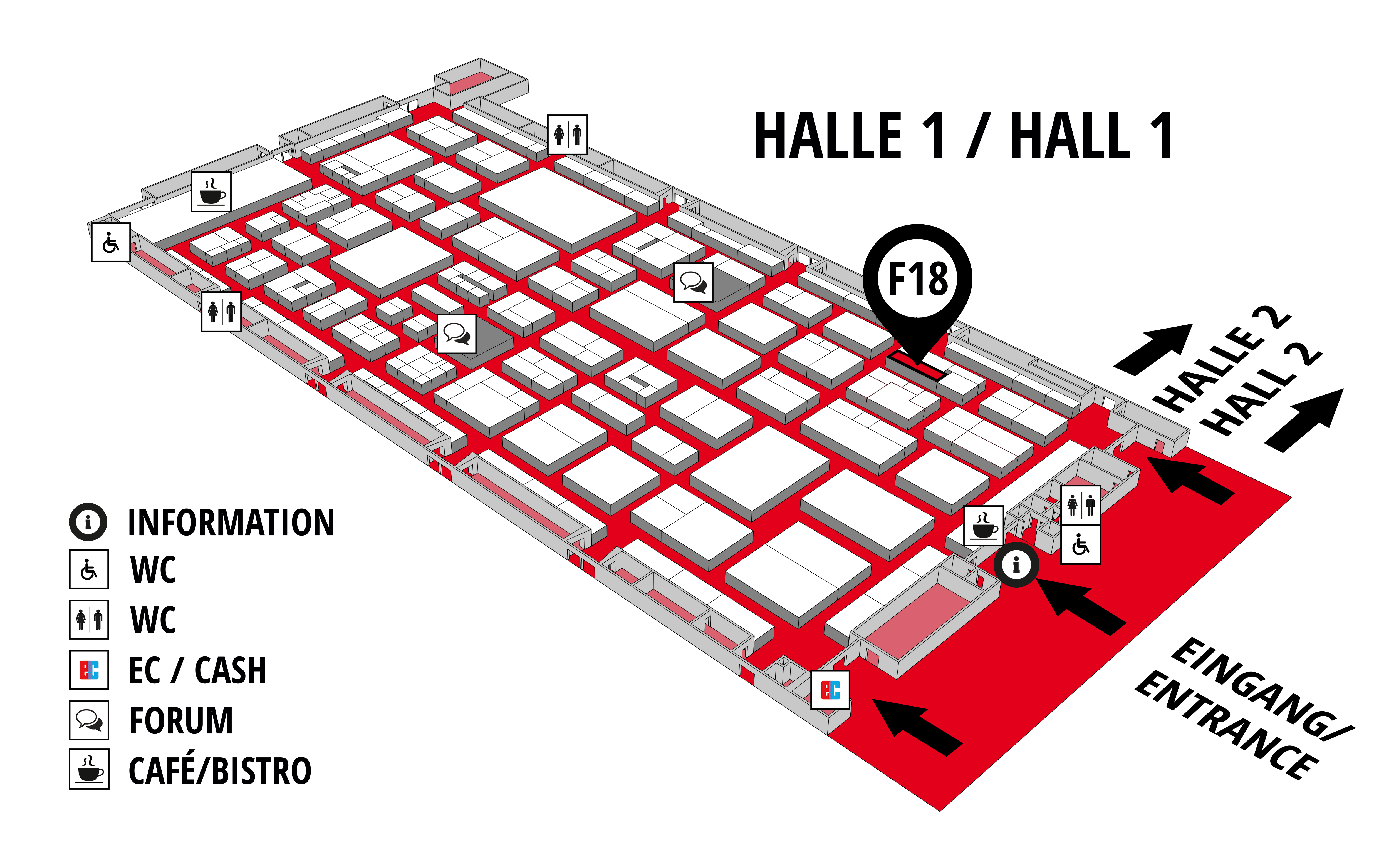 REHAB - Rehabilitation | Therapy | Care | Inclusion hall map (Hall 1): stand F18