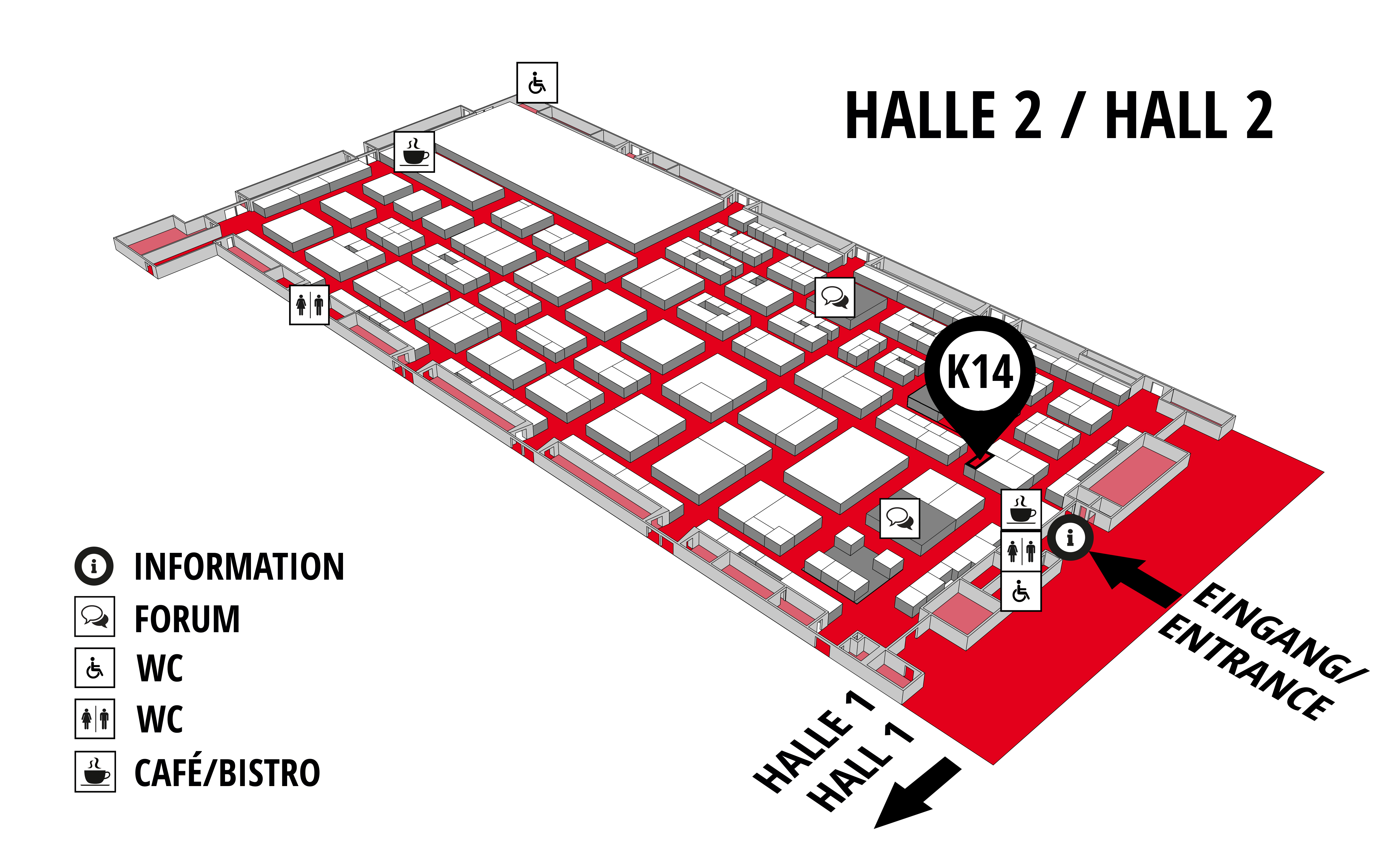 REHAB - Rehabilitation | Therapy | Care | Inclusion hall map (Hall 2): stand K14