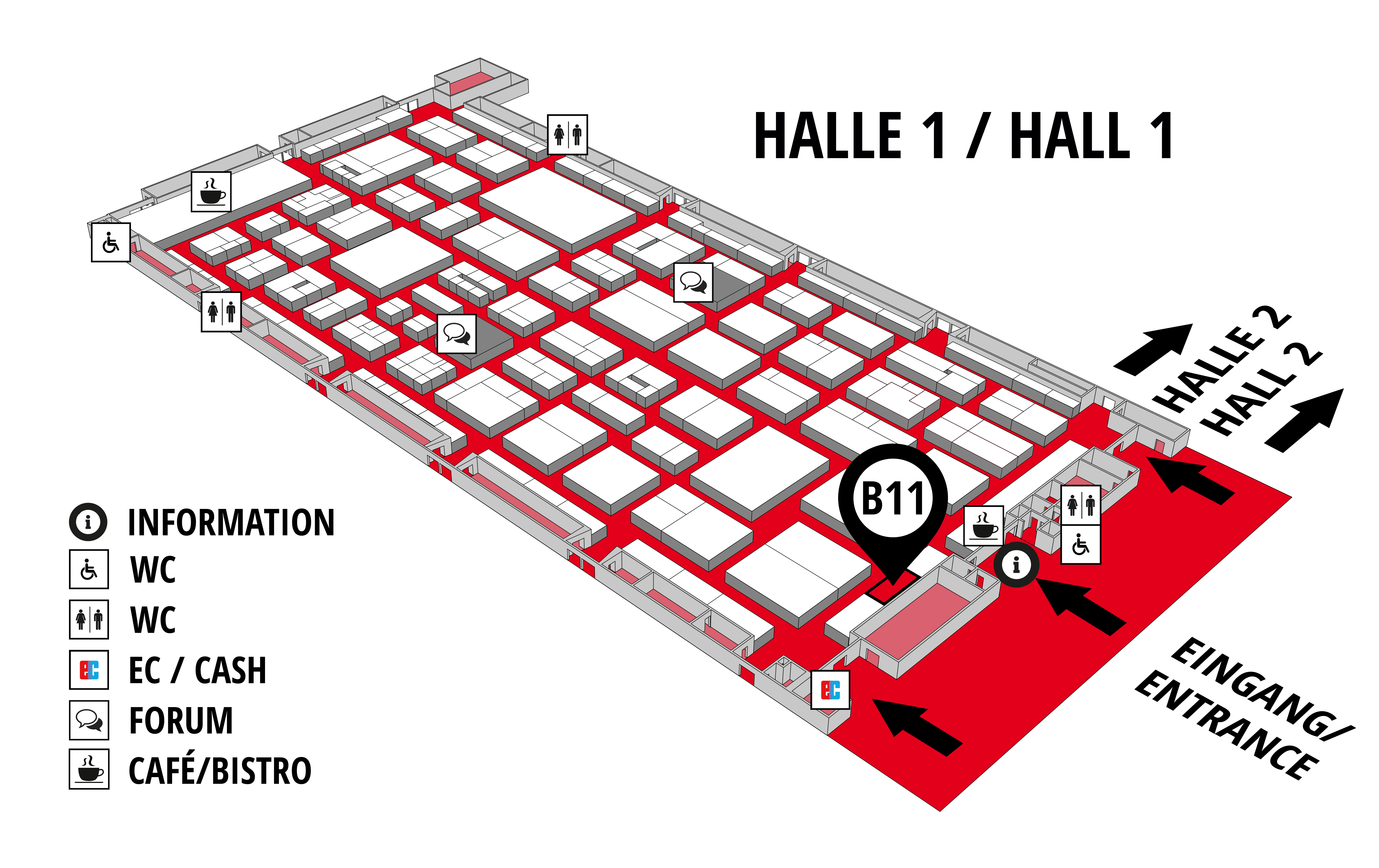 REHAB - Rehabilitation | Therapy | Care | Inclusion hall map (Hall 1): stand B11