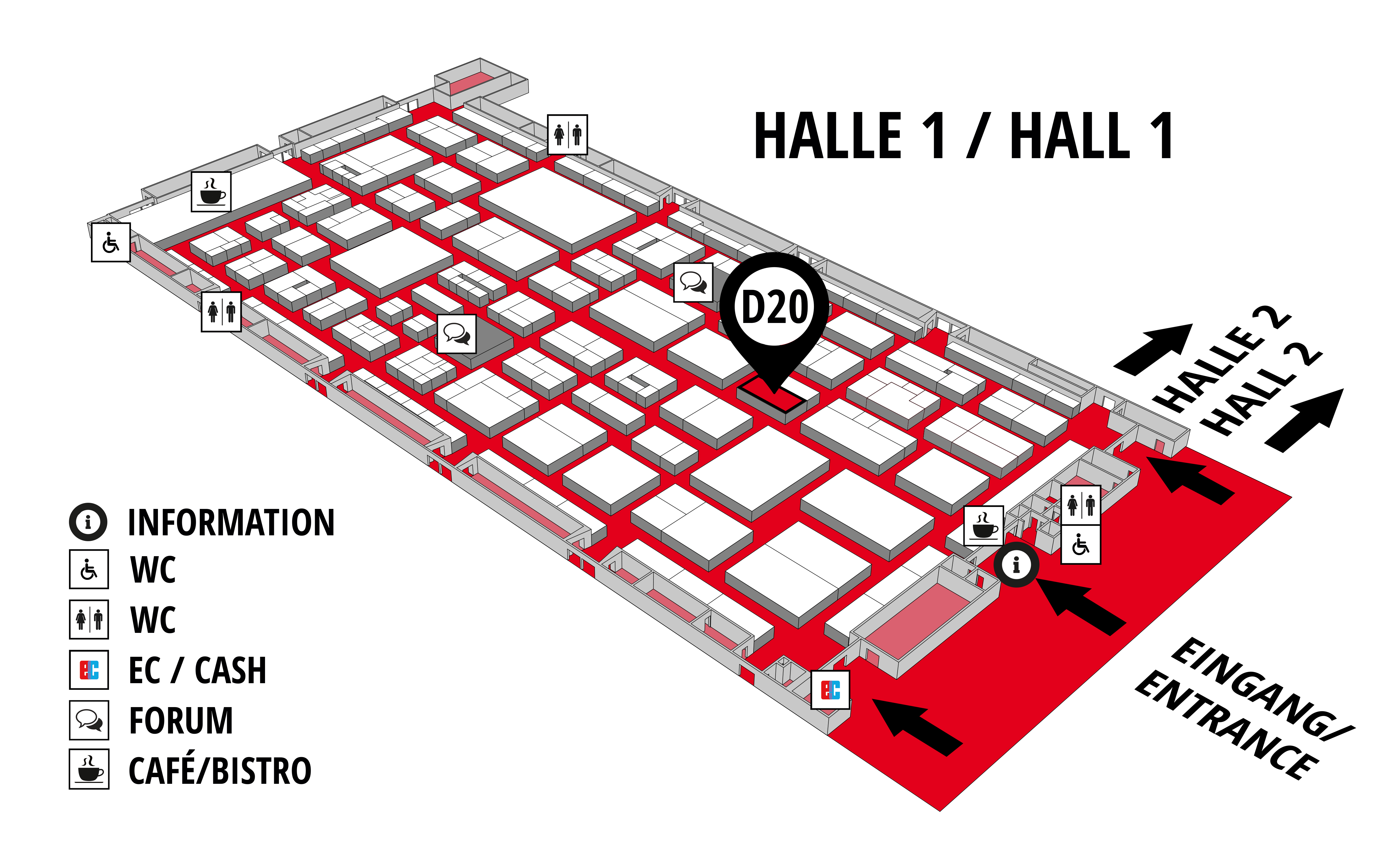 REHAB - Rehabilitation | Therapy | Care | Inclusion hall map (Hall 1): stand D20