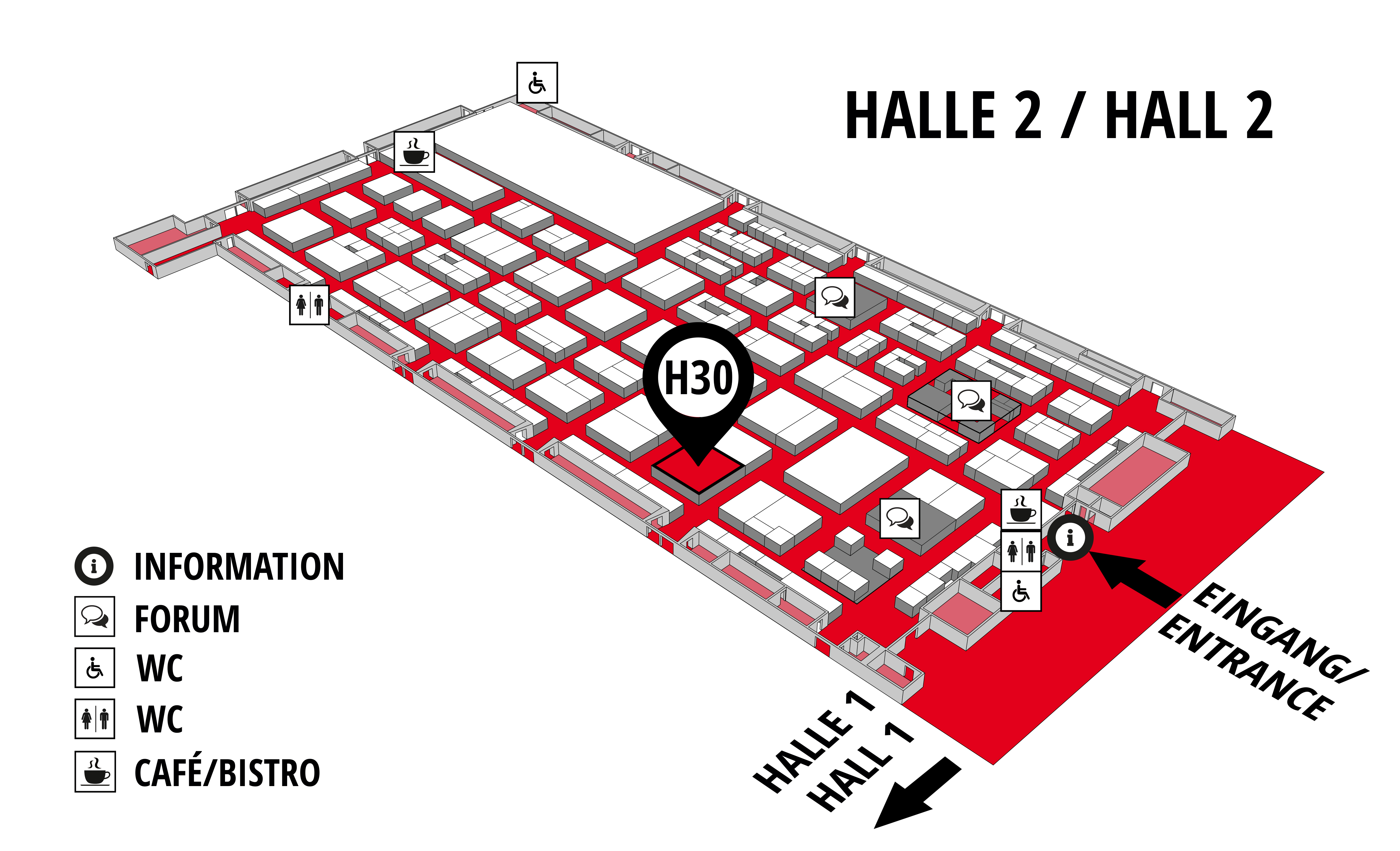 REHAB - Rehabilitation | Therapy | Care | Inclusion hall map (Hall 2): stand H30