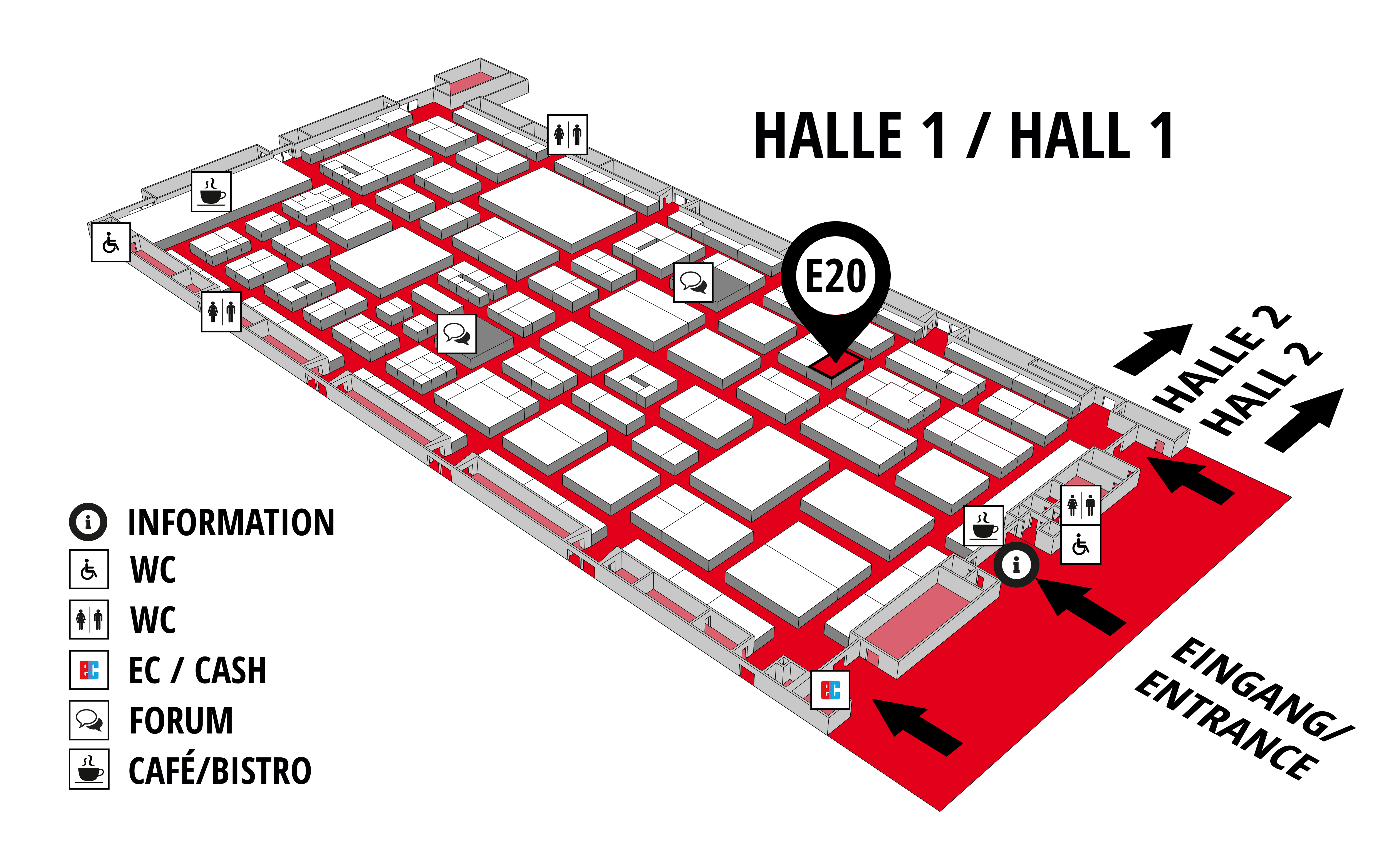 REHAB - Rehabilitation | Therapy | Care | Inclusion hall map (Hall 1): stand E20