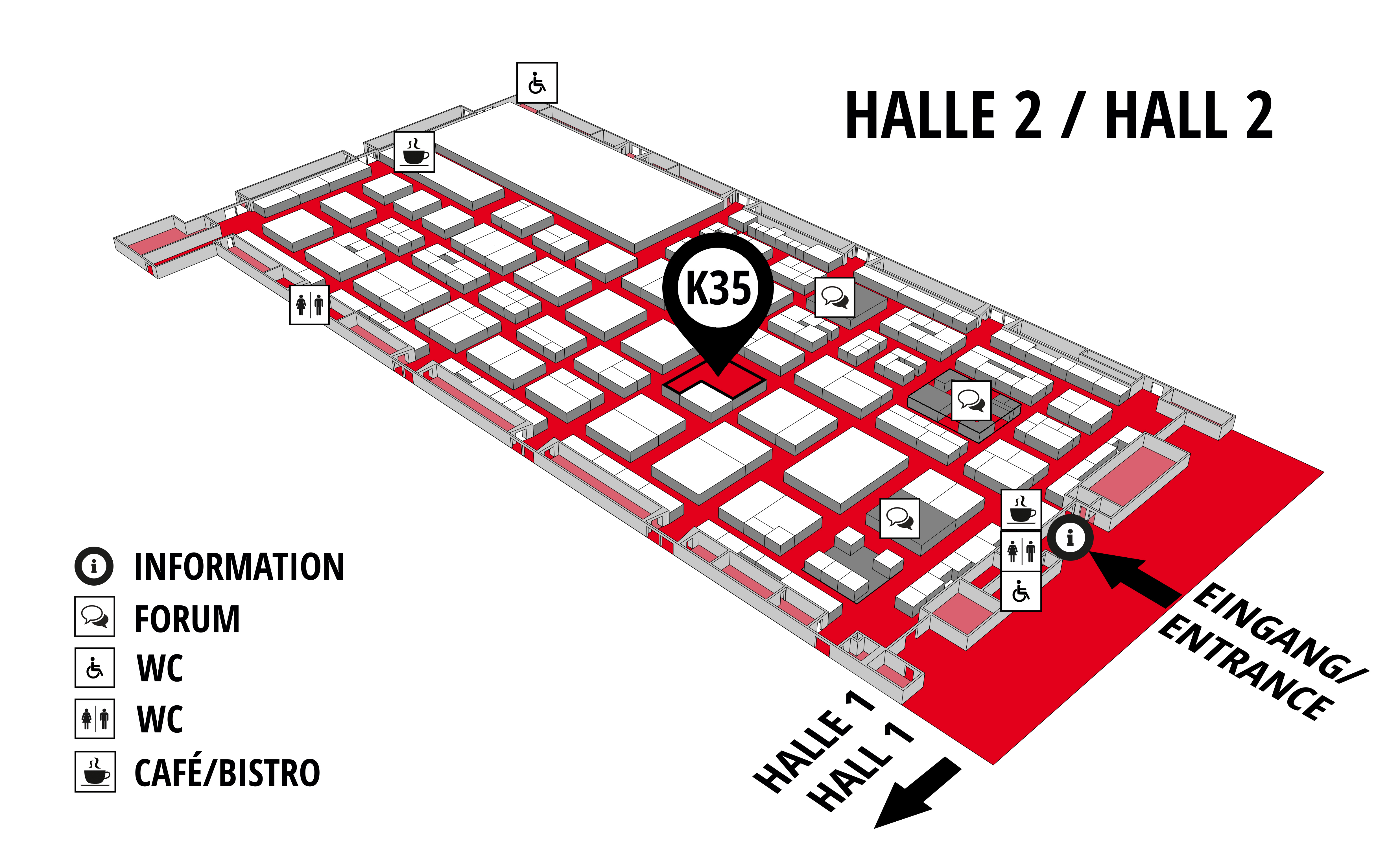 REHAB - Rehabilitation | Therapy | Care | Inclusion hall map (Hall 2): stand K35