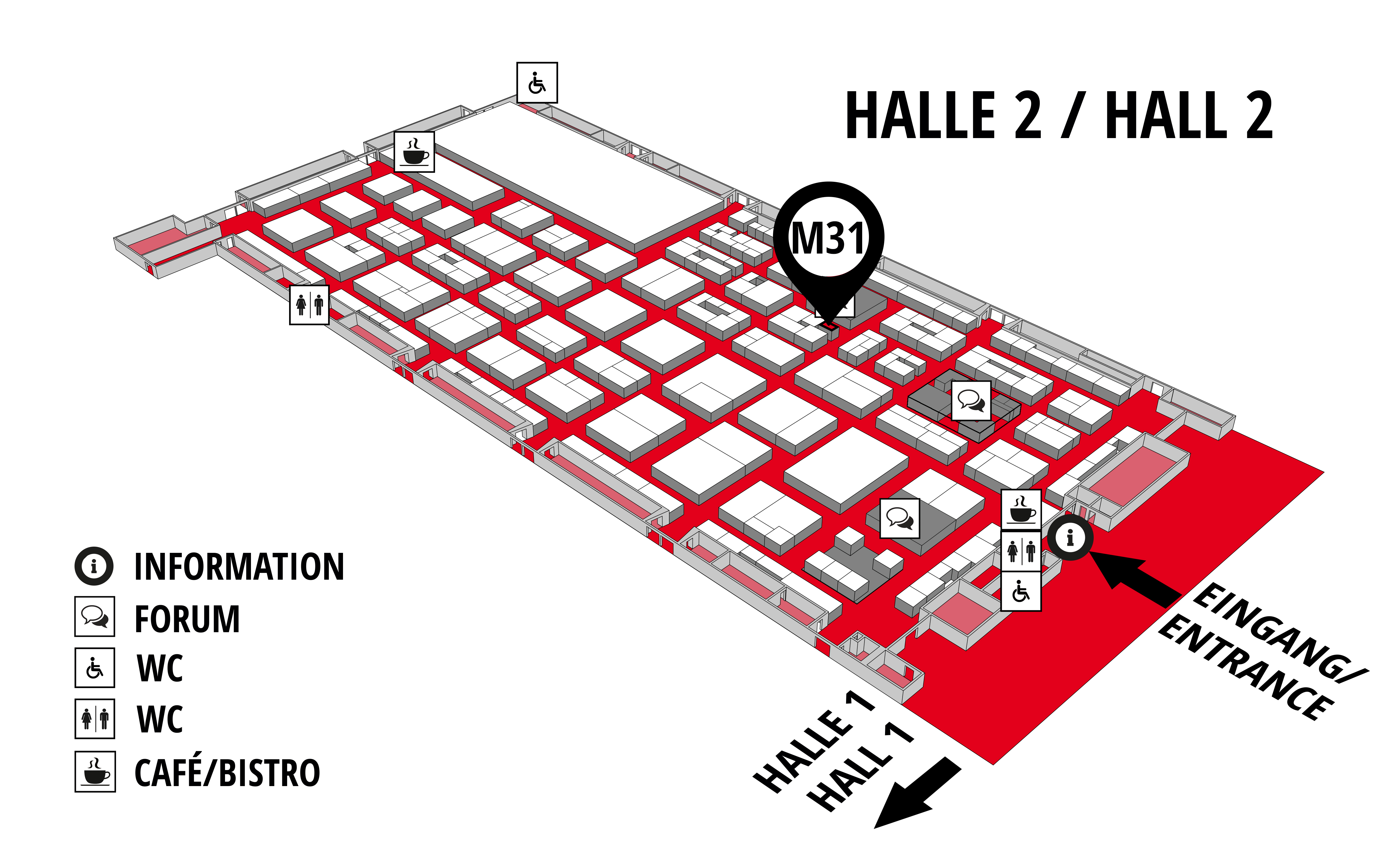 REHAB - Rehabilitation | Therapy | Care | Inclusion hall map (Hall 2): stand M31