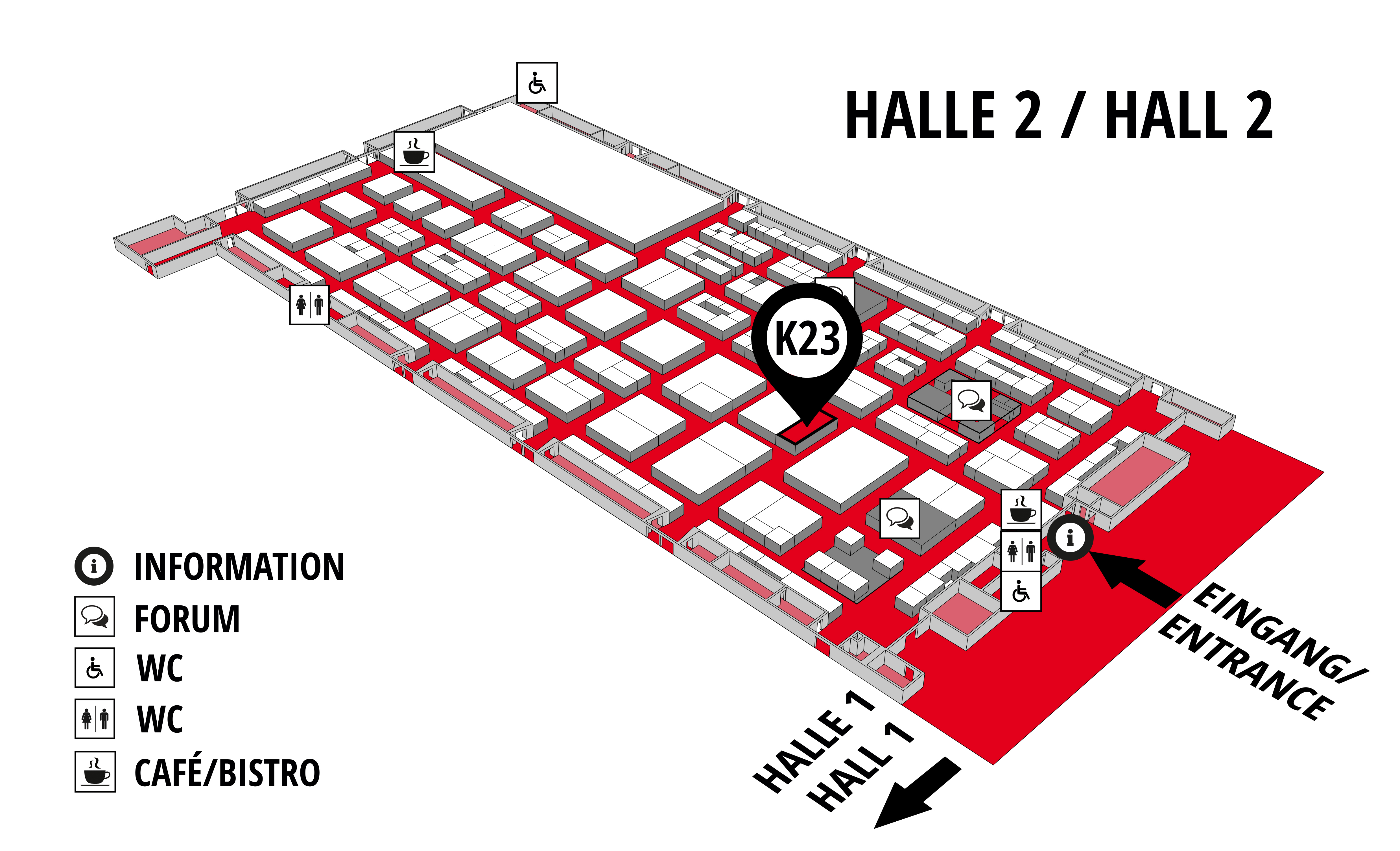 REHAB - Rehabilitation | Therapy | Care | Inclusion hall map (Hall 2): stand K23