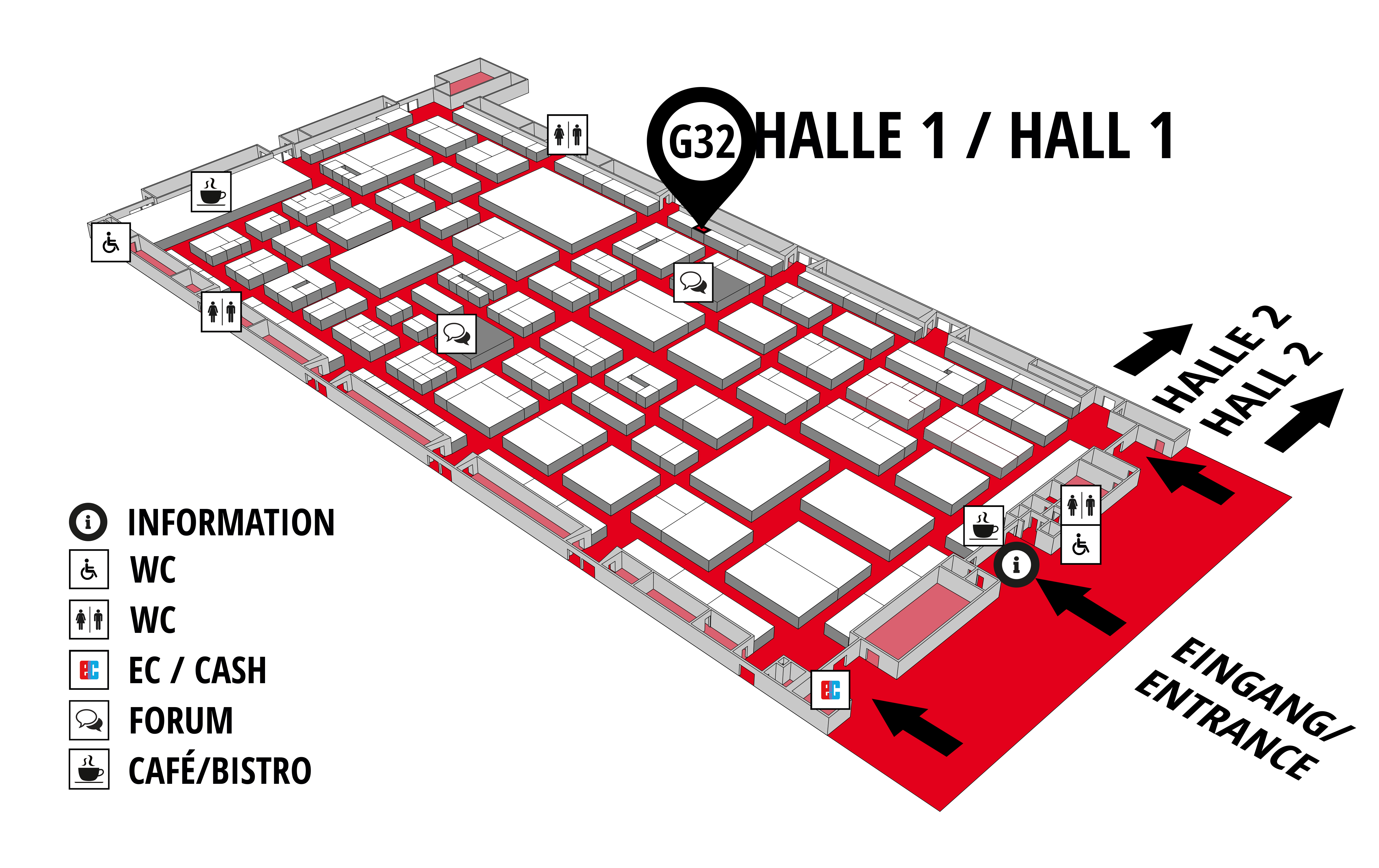 REHAB - Rehabilitation | Therapy | Care | Inclusion hall map (Hall 1): stand G32