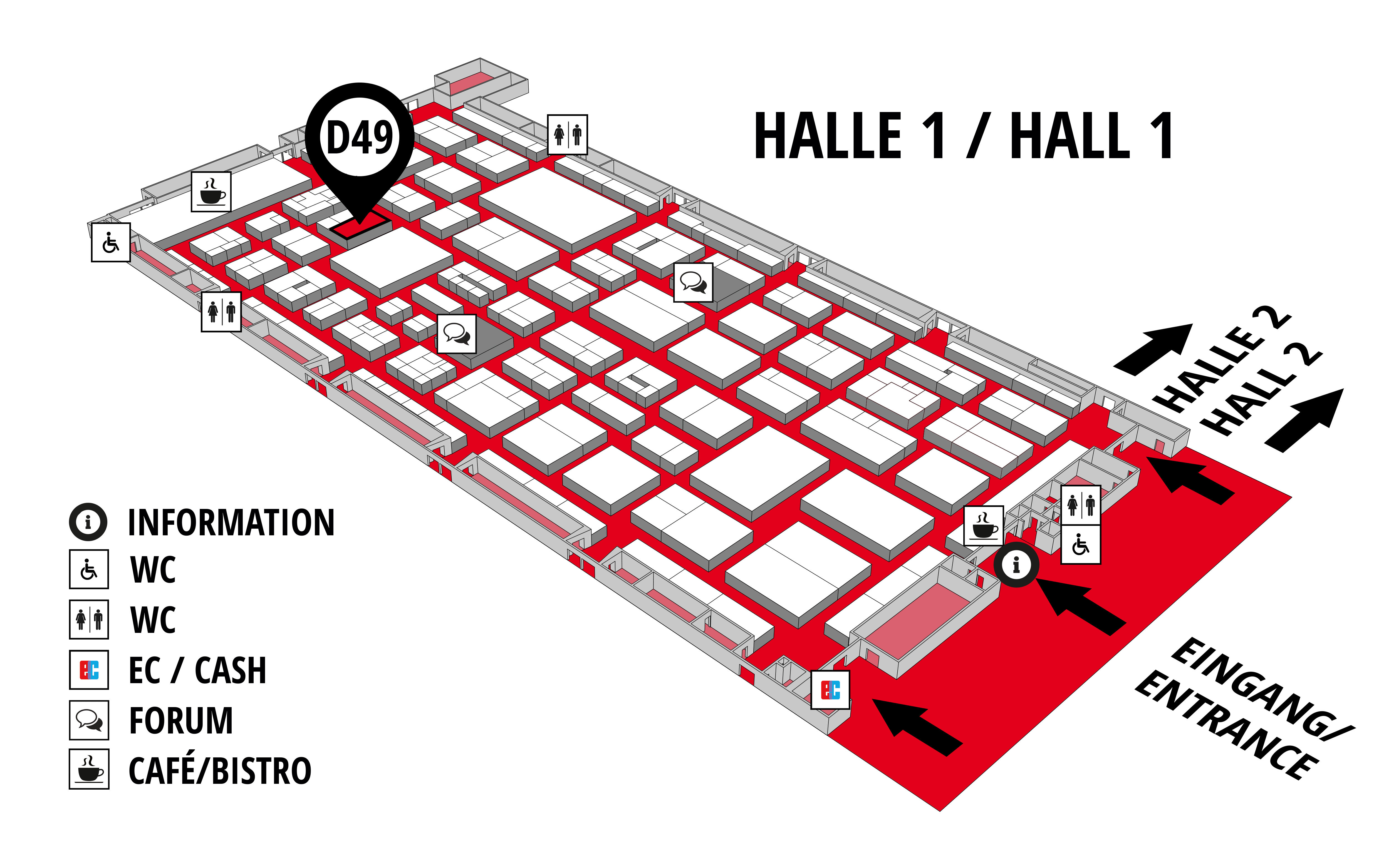 REHAB - Rehabilitation | Therapy | Care | Inclusion hall map (Hall 1): stand D49