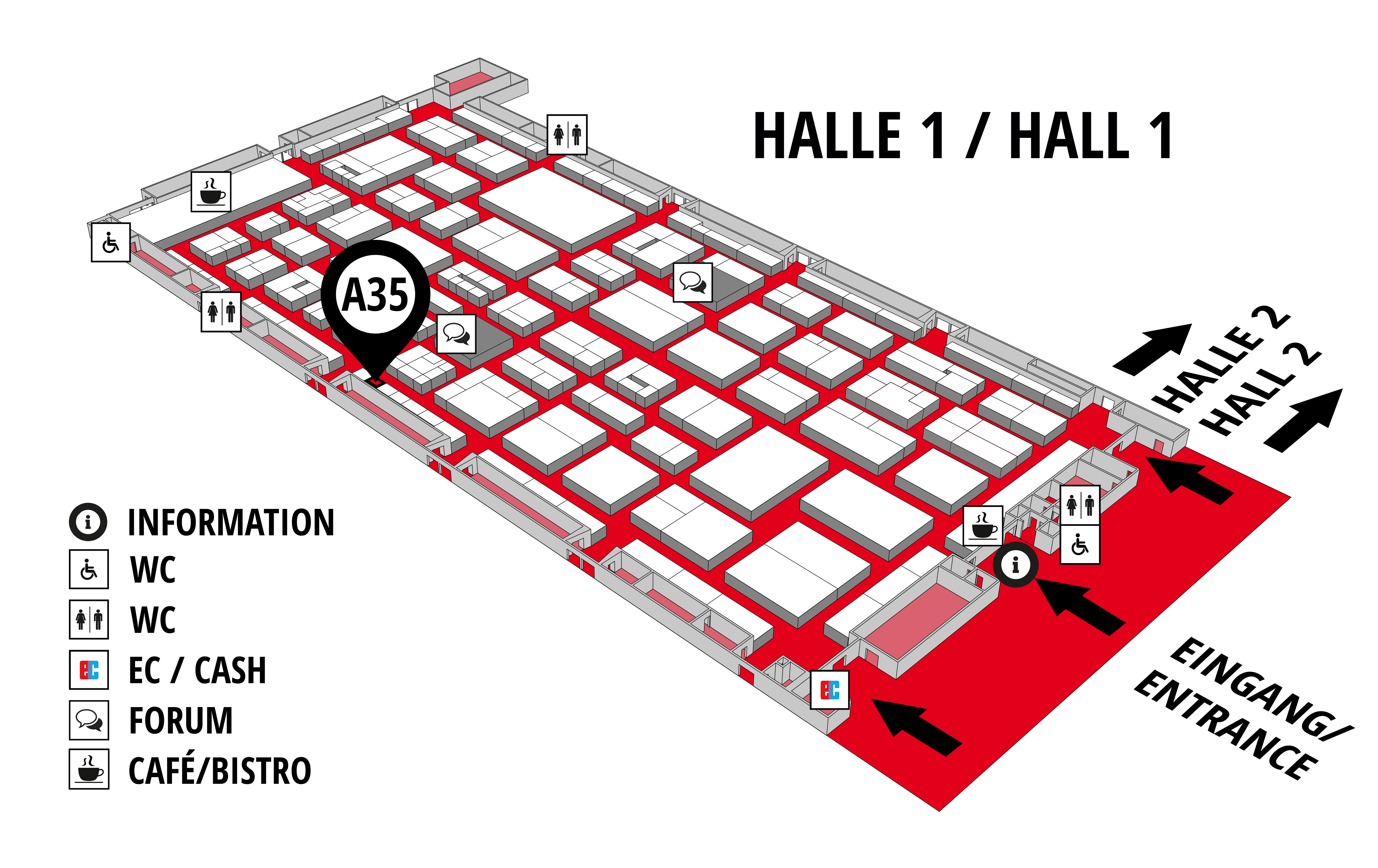 REHAB - Rehabilitation   Therapy   Care   Inclusion hall map (Hall 1): stand A35