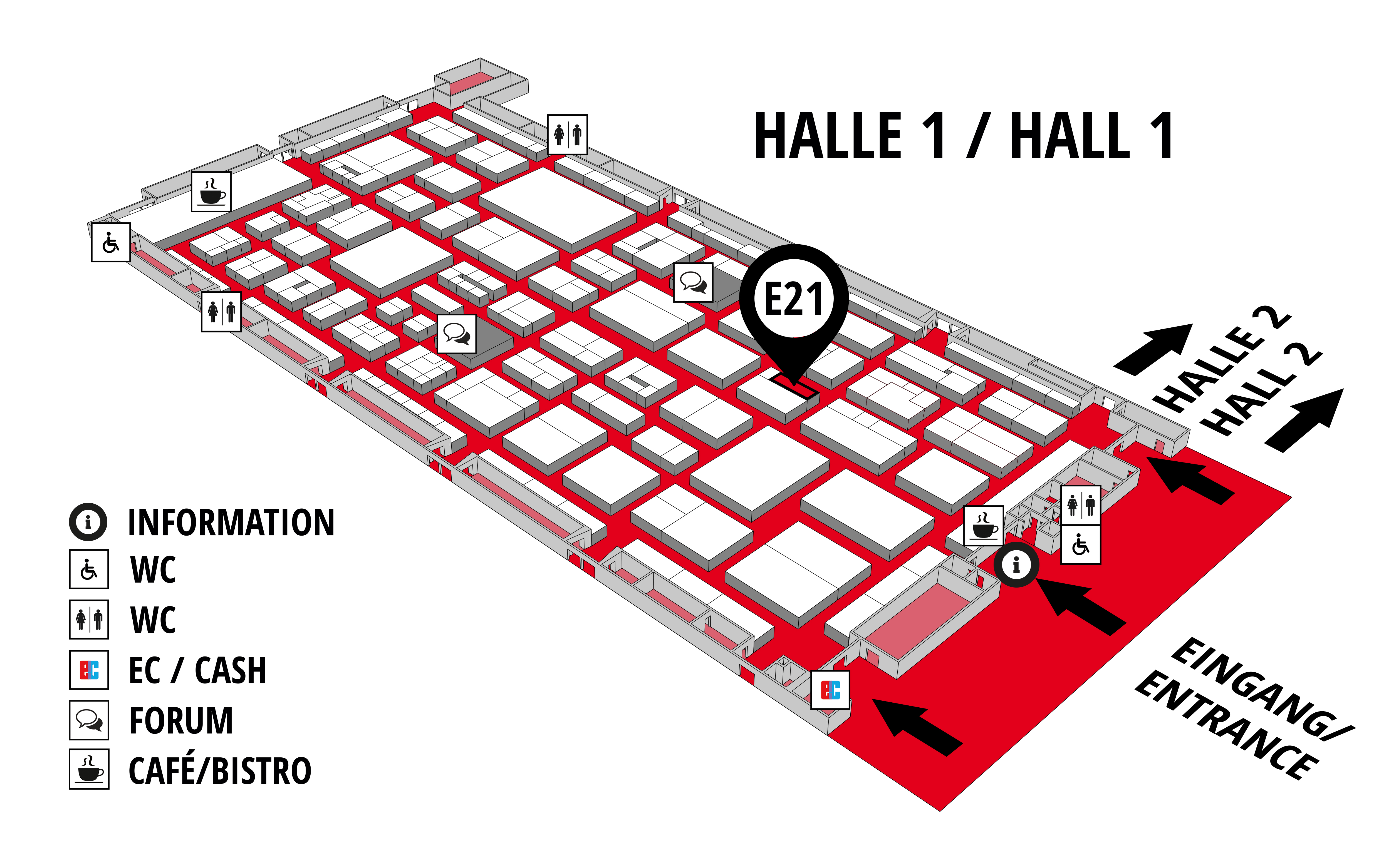 REHAB - Rehabilitation | Therapy | Care | Inclusion hall map (Hall 1): stand E21