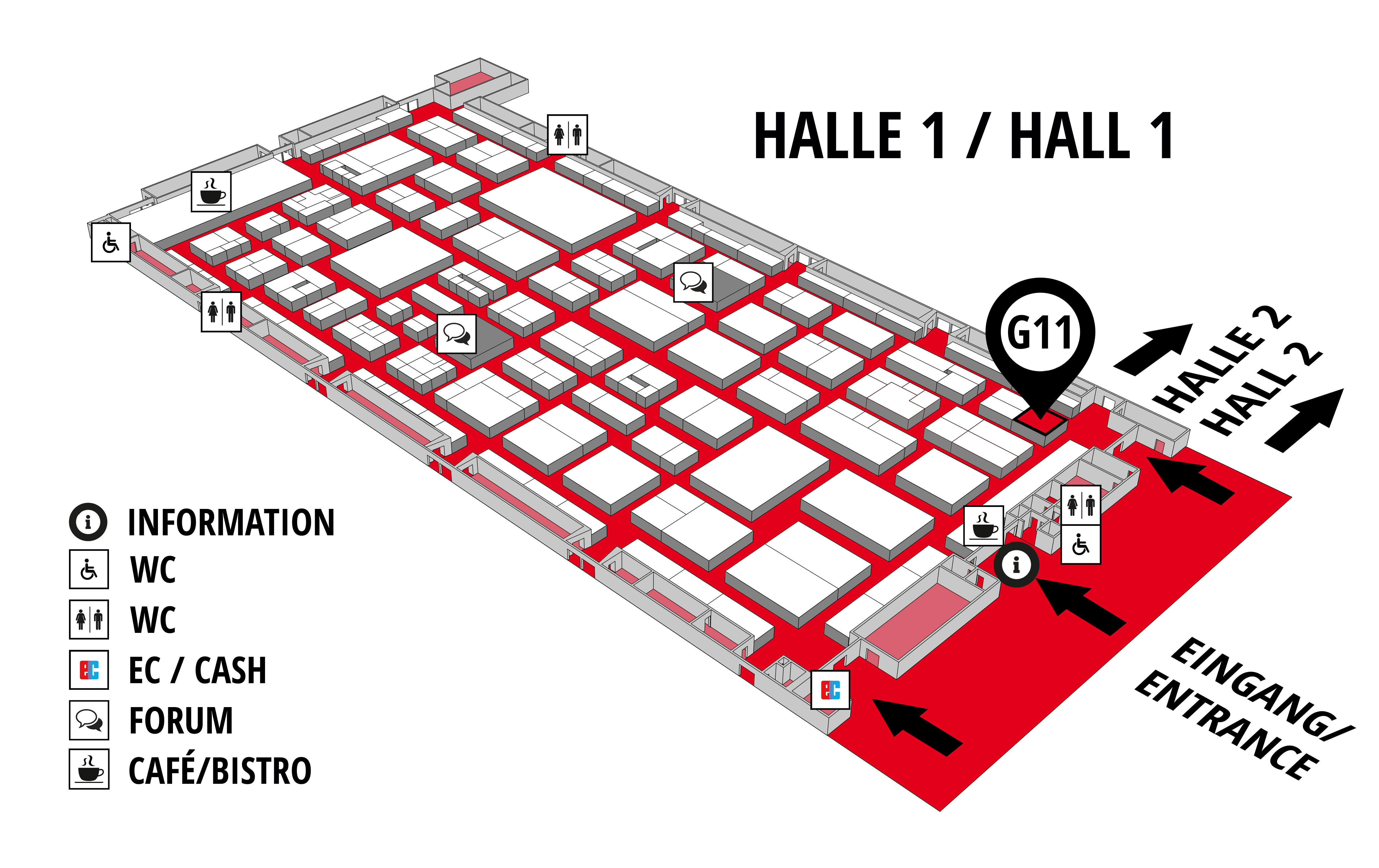 REHAB - Rehabilitation | Therapy | Care | Inclusion hall map (Hall 1): stand G11