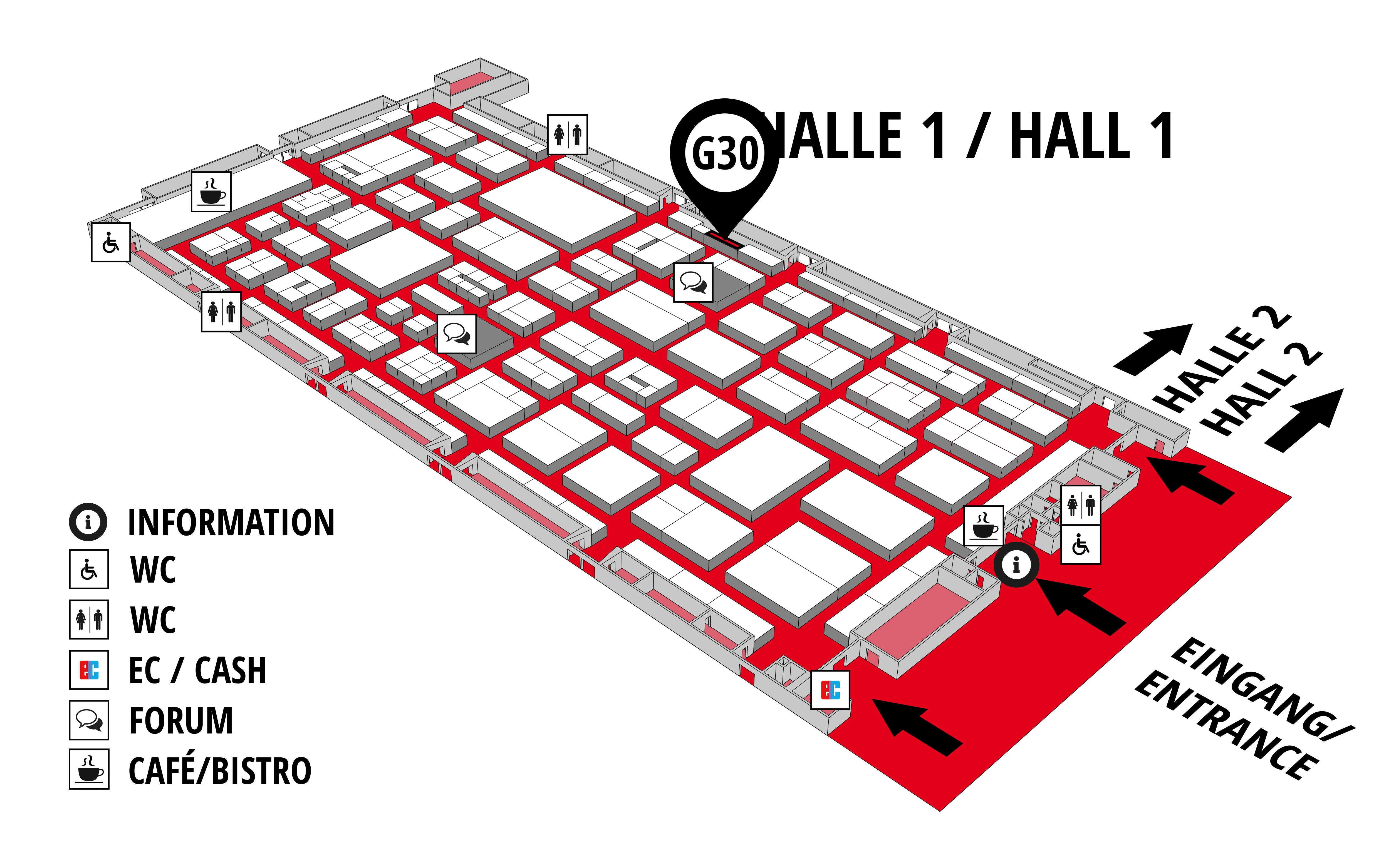 REHAB - Rehabilitation | Therapy | Care | Inclusion hall map (Hall 1): stand G30