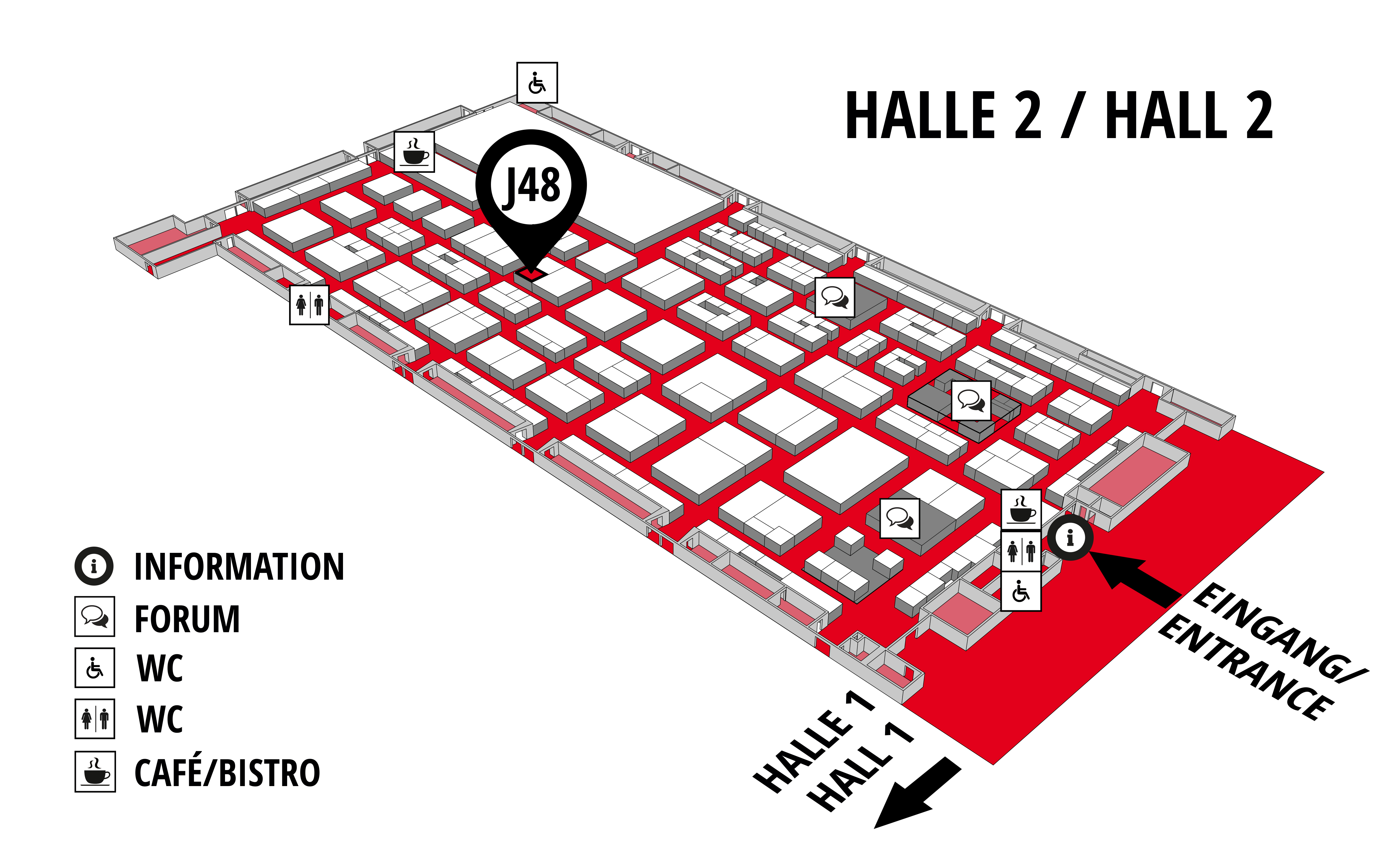 REHAB - Rehabilitation | Therapy | Care | Inclusion hall map (Hall 2): stand J48