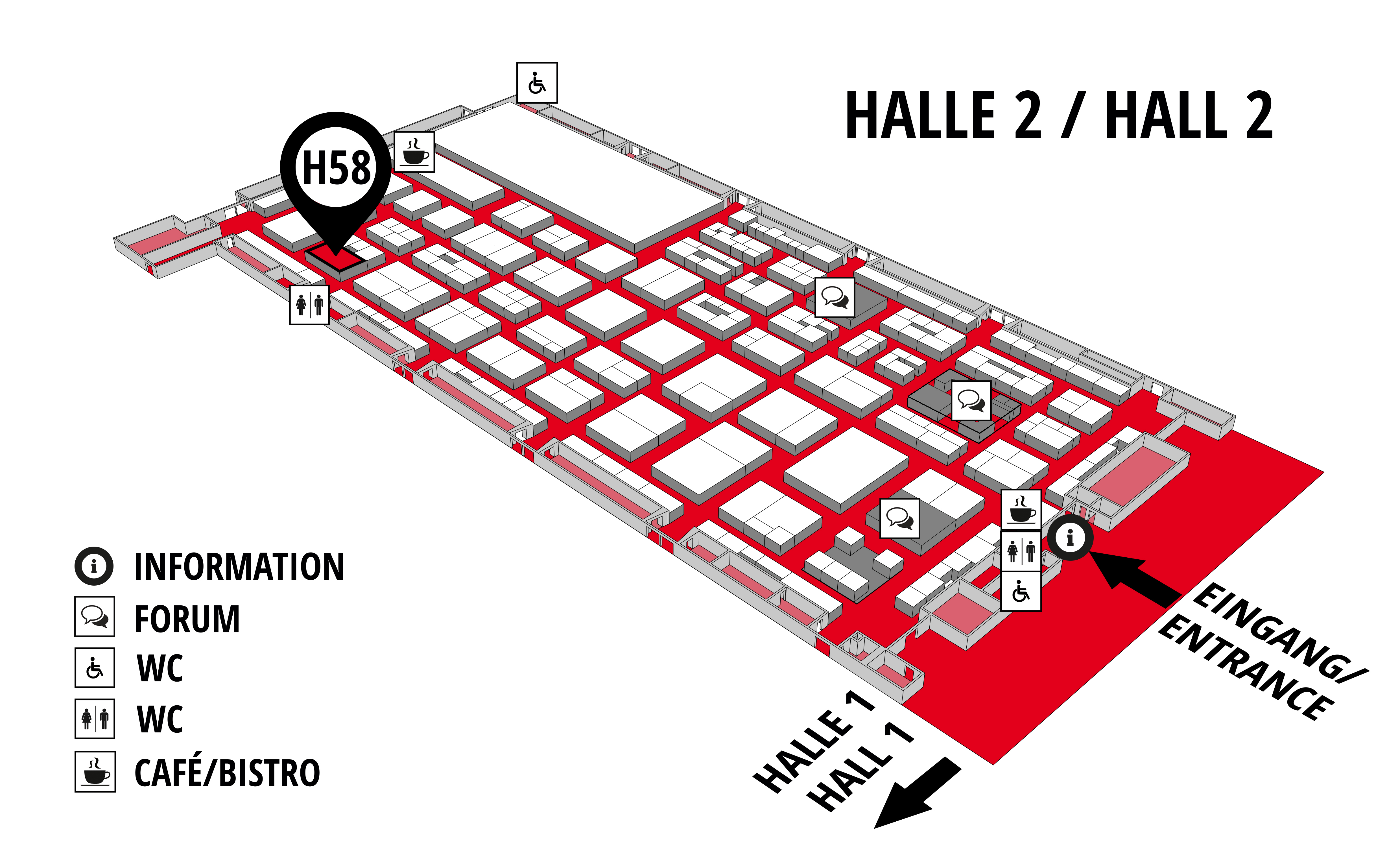 REHAB - Rehabilitation   Therapy   Care   Inclusion hall map (Hall 2): stand H58
