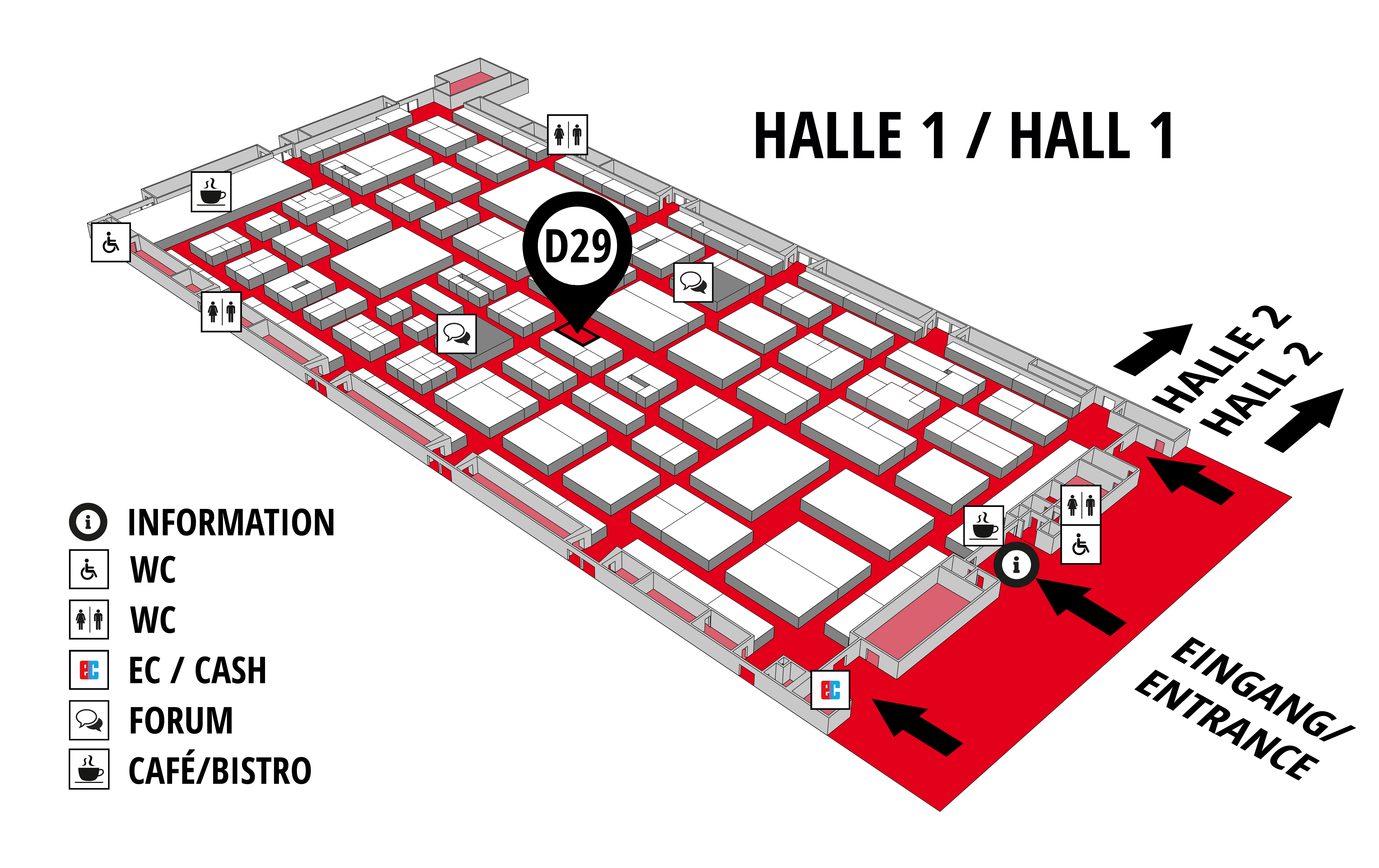 REHAB - Rehabilitation | Therapy | Care | Inclusion hall map (Hall 1): stand D29