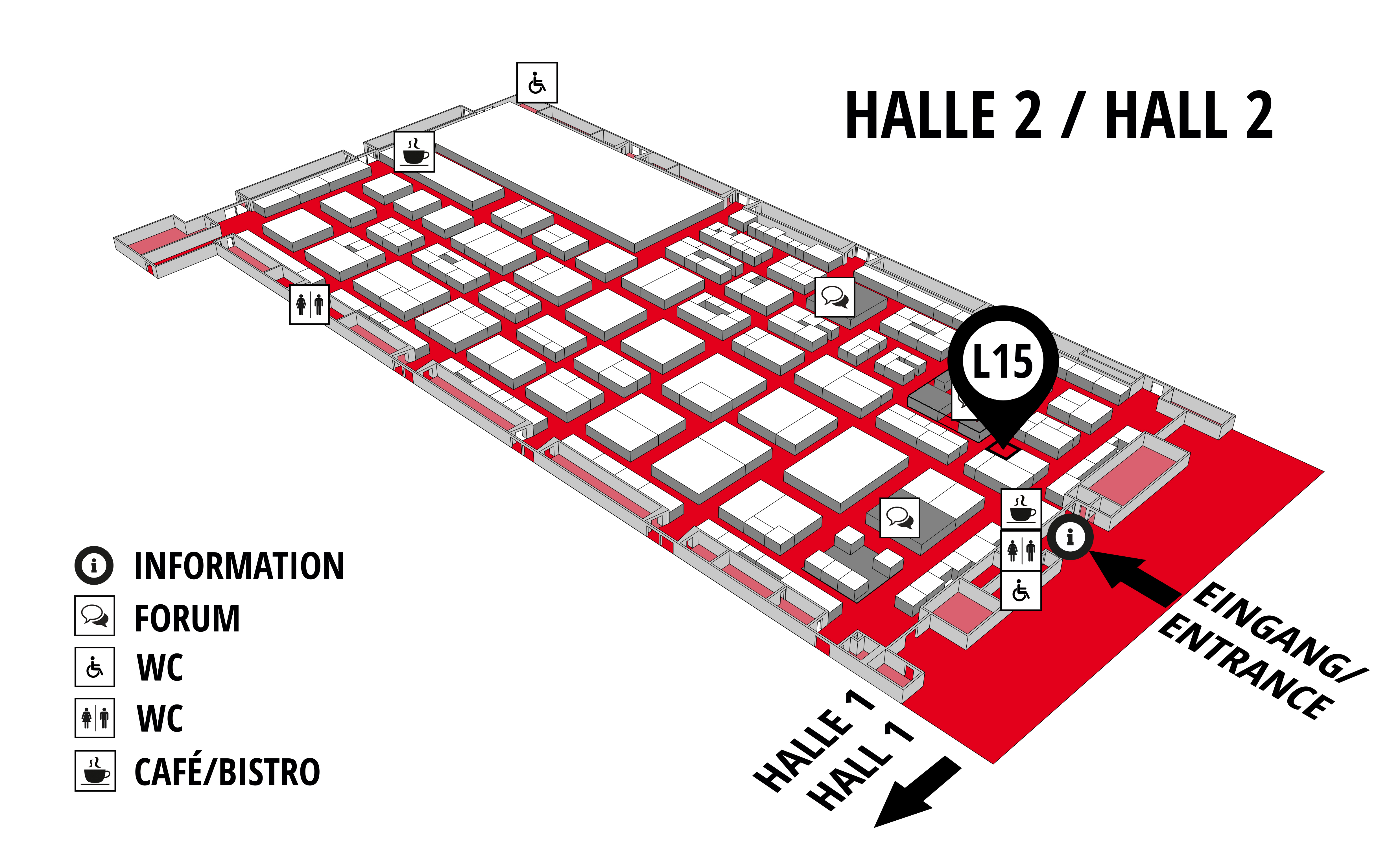 REHAB - Rehabilitation | Therapy | Care | Inclusion hall map (Hall 2): stand L15