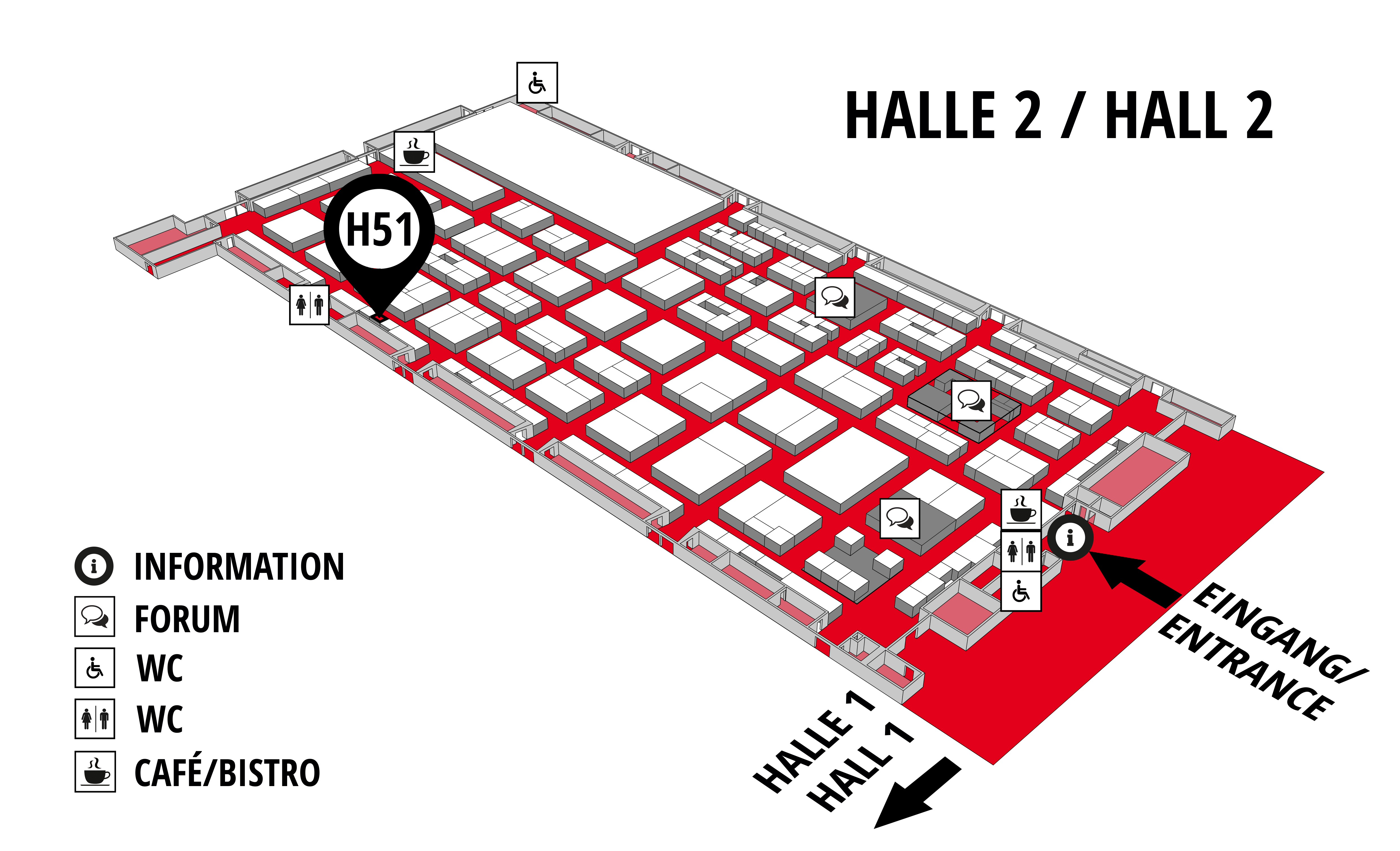REHAB - Rehabilitation | Therapy | Care | Inclusion hall map (Hall 2): stand H51