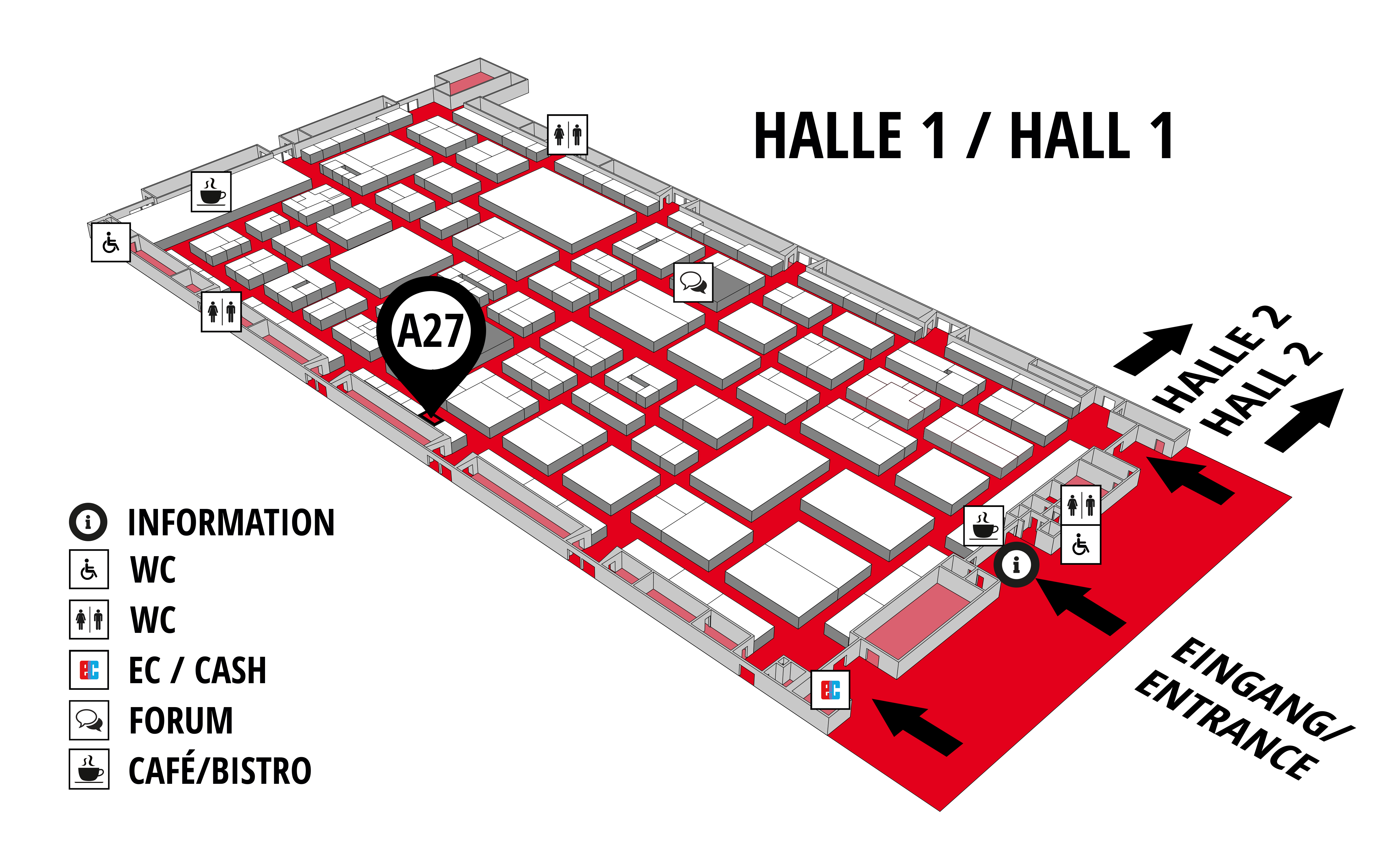 REHAB - Rehabilitation | Therapy | Care | Inclusion hall map (Hall 1): stand A27