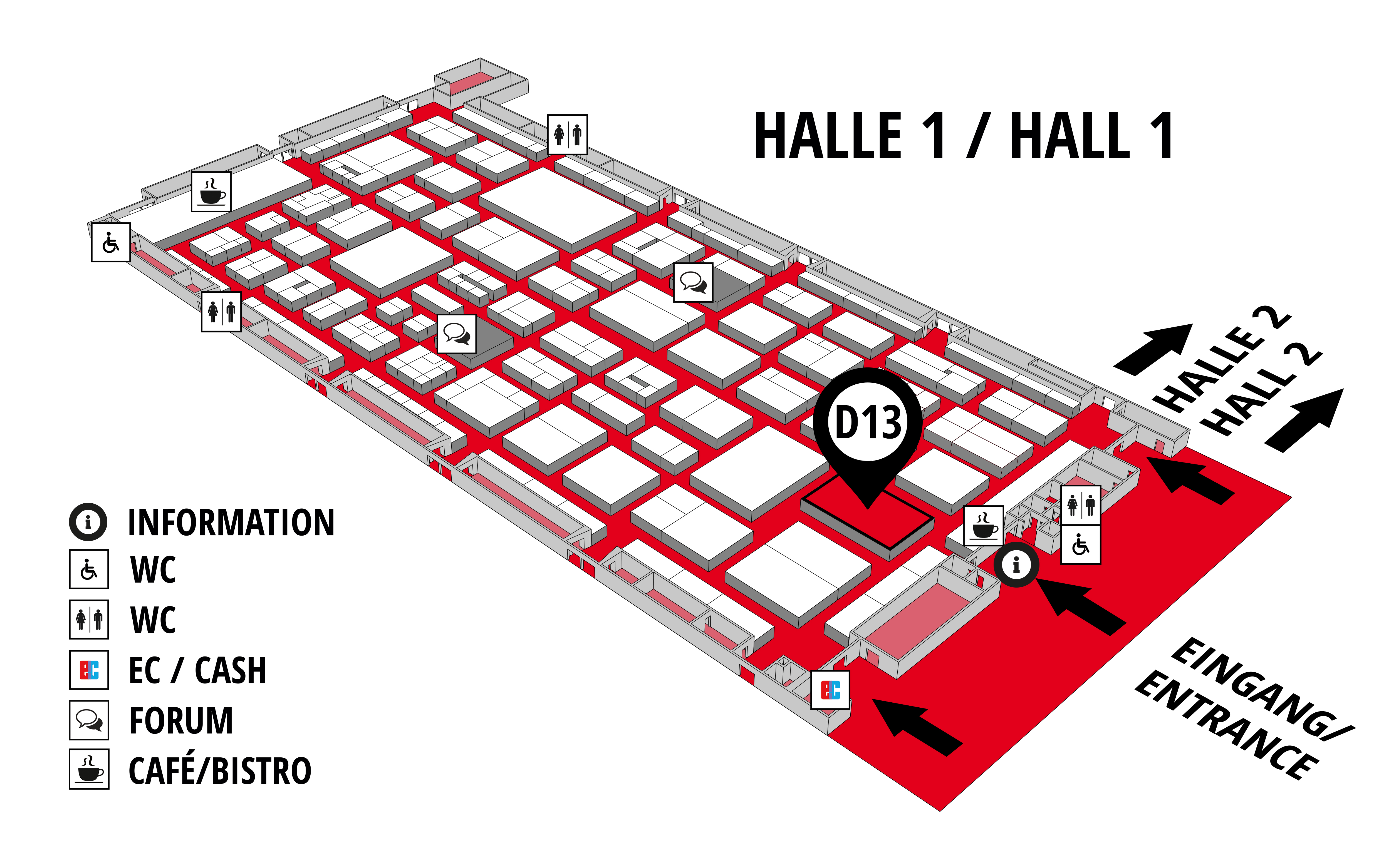 REHAB - Rehabilitation | Therapy | Care | Inclusion hall map (Hall 1): stand D13