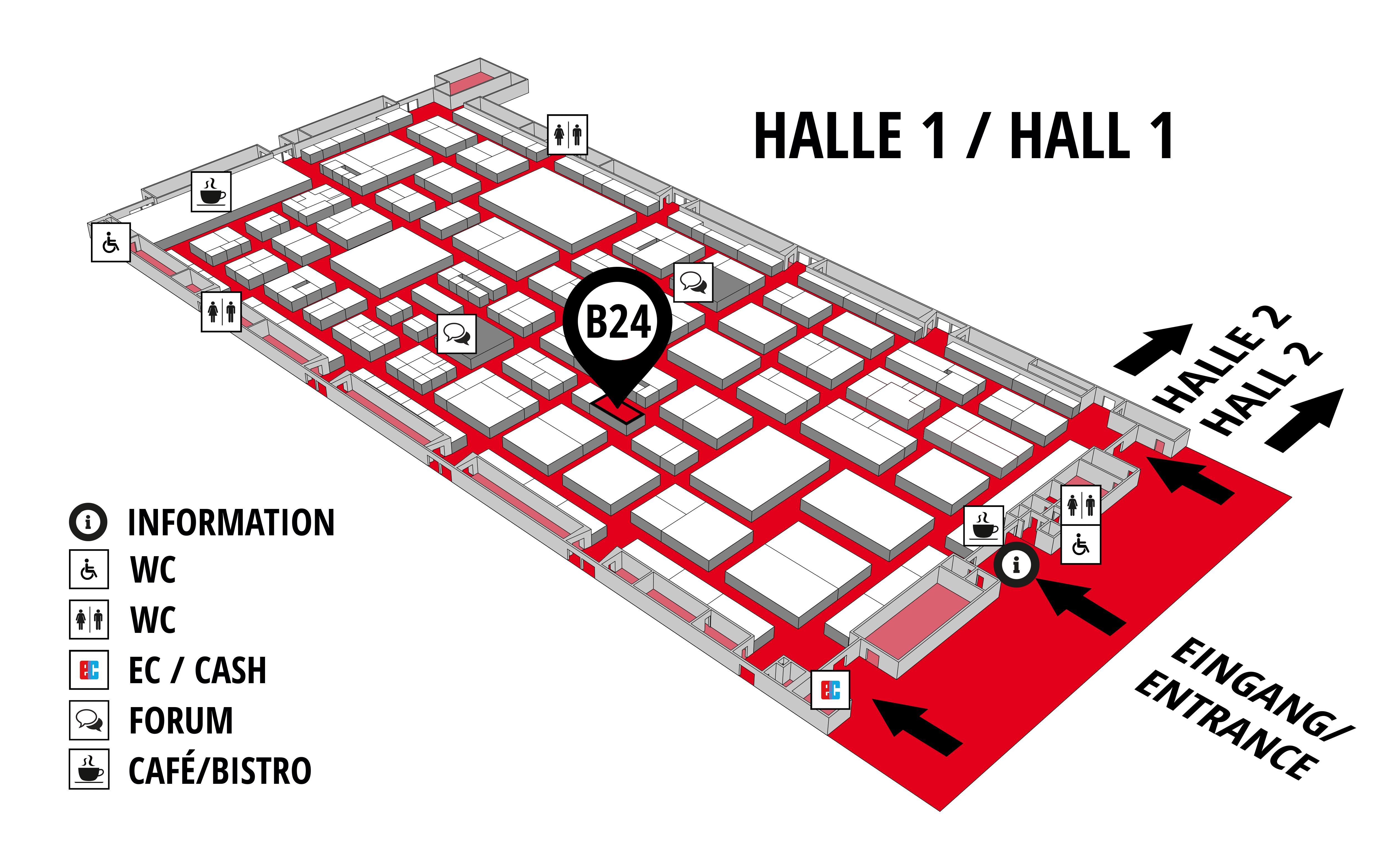 REHAB - Rehabilitation | Therapy | Care | Inclusion hall map (Hall 1): stand B24