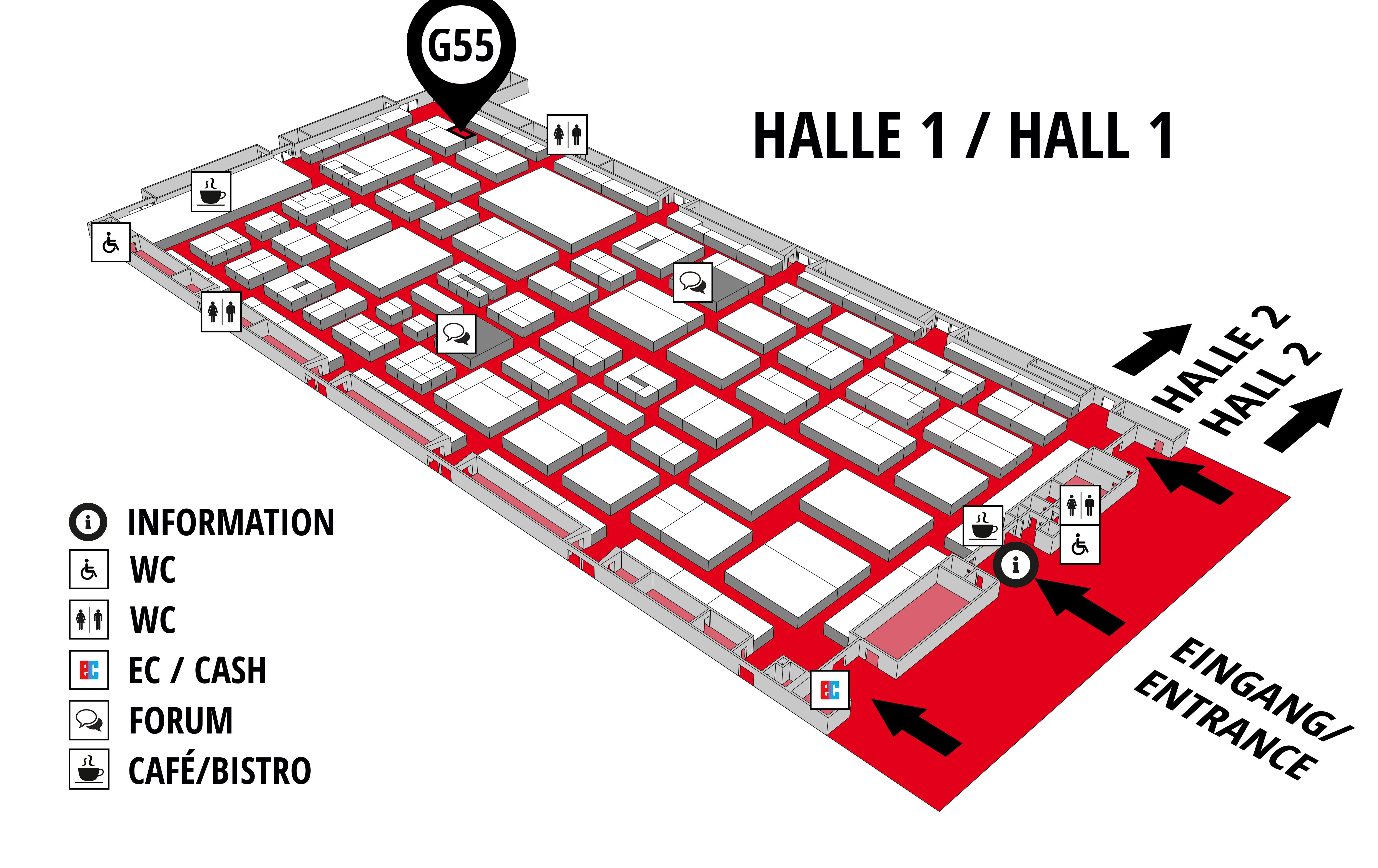 REHAB - Rehabilitation | Therapy | Care | Inclusion hall map (Hall 1): stand G55